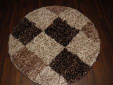 SHAGGY NEW 120X120CM CIRCLE RUGS WOVEN BACK HAND CARVED BROWN/BEIGES LOVLEY